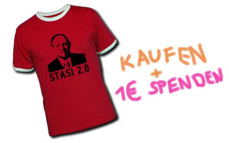 Stasi 2.0 Shirt kaufen und 1 Euro an den AK Vorratsdatenspeicherung spenden